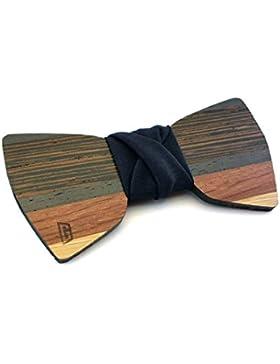 GIGETTO Papillon in legno fatto a mano con nodo in tessuto blu scuro. Farfallino accessori moda matrimonio cerimonia...