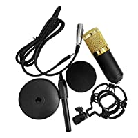 RuleaxAsi BM-800 Condenser Microphone Portable High Sensitivity Low Noise Mic Kit for Computer Mobile Phone Studio Live Stream Broadcasting Recording with Round Disk Support