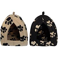 Igloo Pet Bed for Cats or Toy Breed Dogs (Black with Caramel Paw Prints)