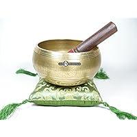 Tibet Klangschale um 900gr. reich verziert Gold Edition mit Quastenkissen preisvergleich bei billige-tabletten.eu