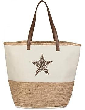 styleBREAKER Strandtasche mit Pailetten Stern und Bast, Schultertasche, Shopper, Badetasche, Damen 02012058