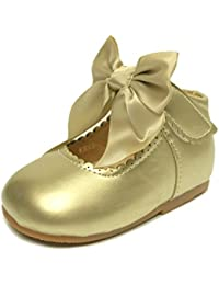 11efda471d32 Heelbox Girls Baby Children s Kids Christening Wedding Satin Bow Party  Patent Shoes Size