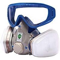 Máscara de gas respirador y gafas de goma, de cara completa, resistente al polvo químico industrial, pintura en spray, doble respirador, máscara de pintura contra incendios con gafas
