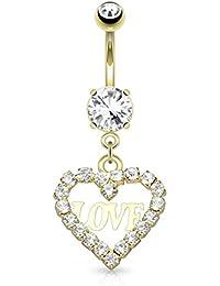Paula & Fritz Piercing de ombligo de acero inoxidable Acero quirúrgico 316L 14 K dorado Plateado Corona De Corazón Colgante cubierto con circonia sin color