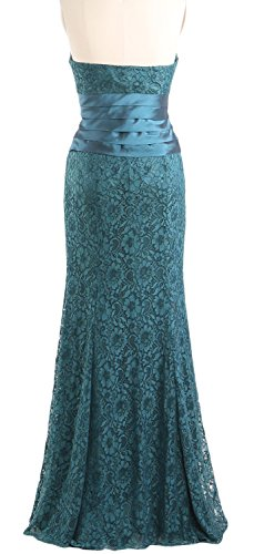 MACloth Women Mermaid Strapless Lace Evening Gown Wedding Party Formal Dress Amethyst