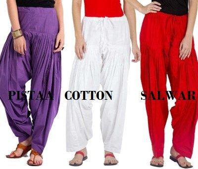 Pistaa Combo of Women Cotton Purple, White and Red Full Patiyala Salwar...