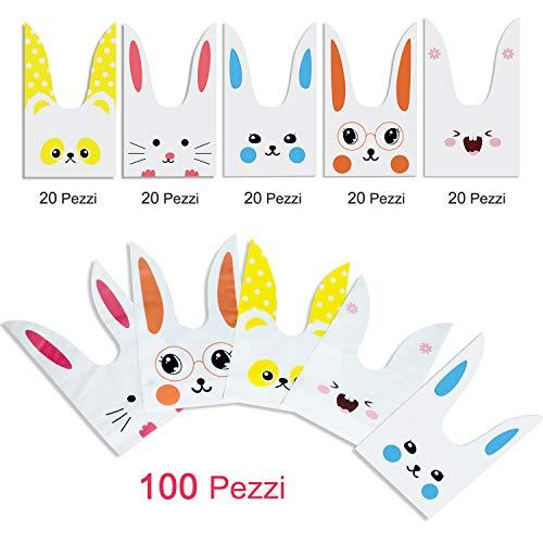 ARTMOVA 100 Pezzi Sacchetti Compleanno,Sacchetto per Caramella Confetti Borsa di Regalo Sacchetto Coniglietto di Forma del Coniglio Sacchetti di Biscotto - 3