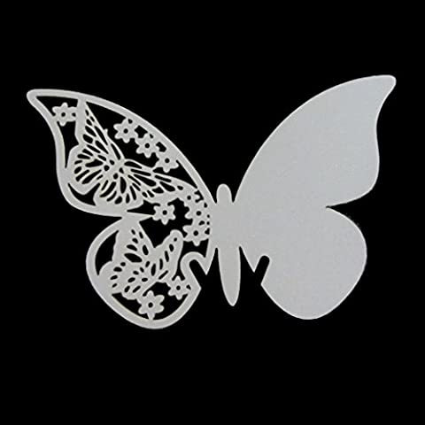 Tischkarte schimmernd lasergeschnitten weißer Schmetterling–Tischnummer, Champagner- / Weinglas-Dekoration, für Hochzeits- / Verlobungsparty, Weiß, 110mmx70mm