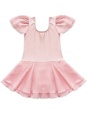 YiZYiF Flügelärmel Mädchen Ballettanzug Balletkleid Kindertanzkostüme Ballett Trikots Tanz Leotards Kleider