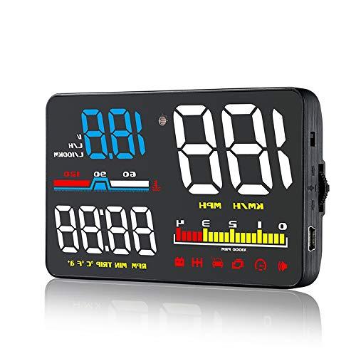 5'Car HUD Head Up Display OBD2 Strumento diagnostico LCD digitale Velocità veicolo MPH KM/h, regime motore, OverSpeed   Warning, misurazione del chilometraggio