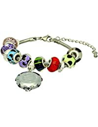 SOS Talisman Pandora Style Bracelet (Oakley) with Chrome Plated Capsule - Sparkle Red