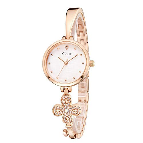 XMYL Damen Uhr,Armband Uhr Strass Dekoration Wasserdicht Uhren Vierblättriges Kleeblatt Schlüssel Diamant Strap,gold2