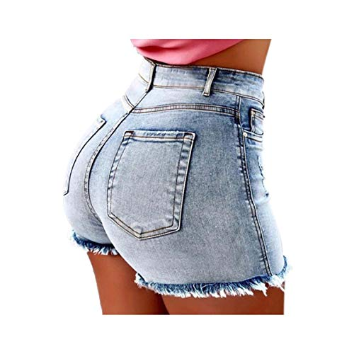 Fashion Women Summer High Waisted Denim Shorts Jeans Women Short 2019 New Femme Push Up Skinny Slim Denim Shorts Blue S - Button Fly Denim Bib