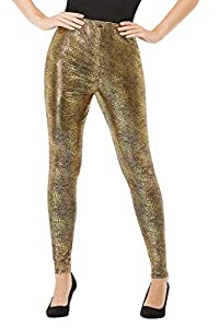 Smiffys 50746L - Mallas para mujer, diseño de dragón, talla L, color dorado
