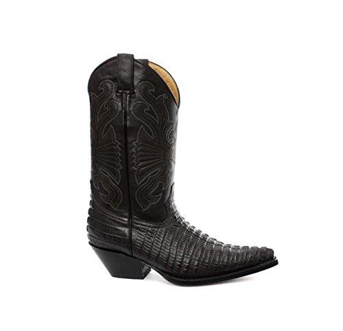 Stivali texani a punta da uomo in vera pelle effetto coccodrilo stile cowboy nero 9uk, 43eu