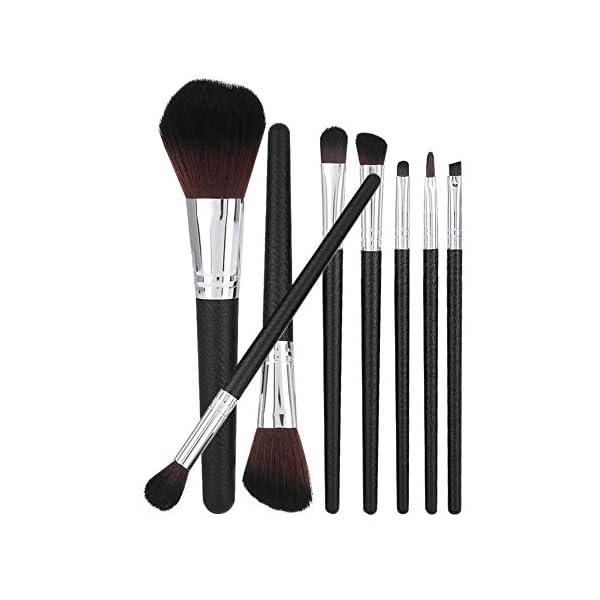 Juego de 8 brochas de maquillaje con patrón de piel y brochas de maquillaje para base de pestañas, color plateado