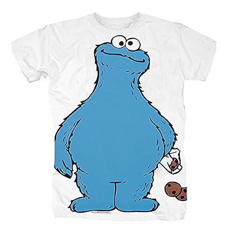 TSP Sesamstrasse - Krümelmonster Cookie Thief T-Shirt Herren XL Weiß