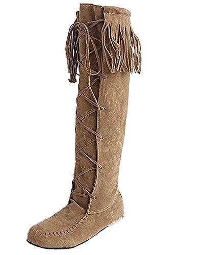 Minetom Mujer Otoño Invierno Elegante Botas Largas Casual Plano Tacón Botas De Rodilla Borla Cordones Botas Amarillo EU 43