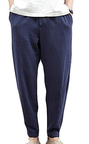 Fulok Mens Linen Ankle Length Belt Baggy Harem Thin Jogger Pants XXX-Large Navy