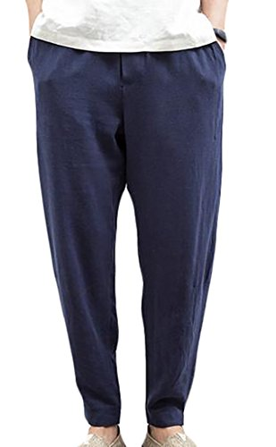 fulok-mens-linen-ankle-length-belt-baggy-harem-thin-jogger-pants-xxx-large-navy