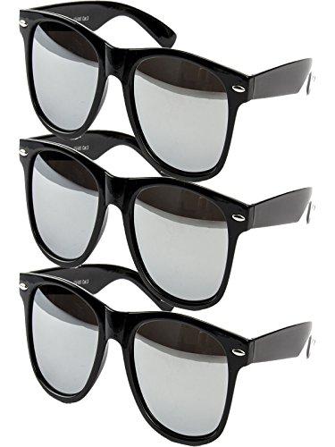 3 er Set EL-Sunprotect Sonnenbrille Nerdbrille Brille Nerd Voll Verspiegelt