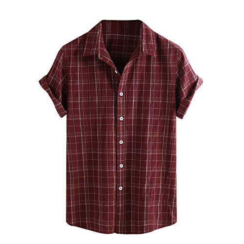 Firally camicia da uomo estiva taglie forti maniche lunghe maniche lunghe camicie da spiaggia camicia di jeans(medium,rosso)