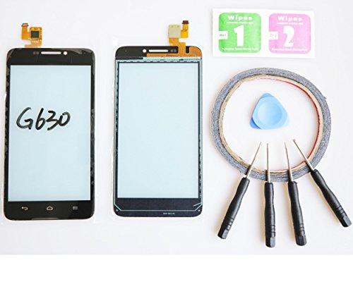 JRLinco Für Huawei Ascend G630Outer Glas Lens Touch Panel Display Touchscreen Ersatzteil ( Ohne LCD ) Für Huawei Ascend G630schwarz + Werkzeuge und doppelseitigen Kleber + Alkohol Reiniger Paket