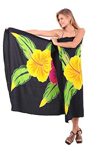 La Leela liscia rayon vernice della mano farfalla coprire bikini pareo 78x43 pollici Jet Black 1