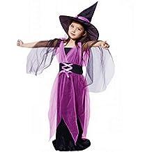 Disfraz Bruja de Halloween Para Niñas K-youth® Cosplay Niña Halloween Vestidos y Sombrero