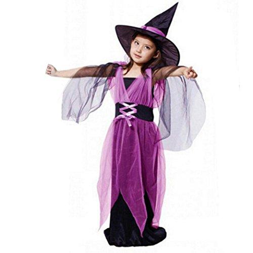 Disfraz Bruja de Halloween Para Niñas K-youth® Cosplay Niña Halloween Vestidos y Sombrero Bruja (Tamaño:13-15años, Violeta B)