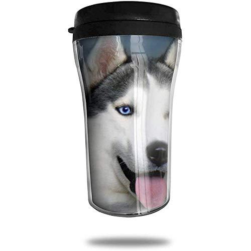 Siberian Husky Travel Kaffeetasse 3D gedruckt tragbaren Saugnapf, isolierte Teetasse Wasserflasche Becher zum Trinken mit Deckel 8,54 oz (250 ml)