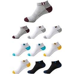 Budermmy Lot de 5 ou 10 paires Homme Chaussettes de sport Femme chaussettes courtes basses respirantes (Mélange de couleurs 10 paires, 41-46)