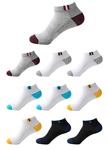 Budermmy 10 Paar Sneaker Socken Herren & Damen Sportsocken kurz Schwarz & Weiß Baumwolle Füßlinge Atmungsaktives Mesh(Farbmischung 10 Paar,40-44) Mesh 10