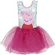 Pepa Pig Vestido para Niñas, Falda Tul Tutú Ballet Brillante 3D, Vestido Manga Corta Princesa Fiesta Cumpleaño