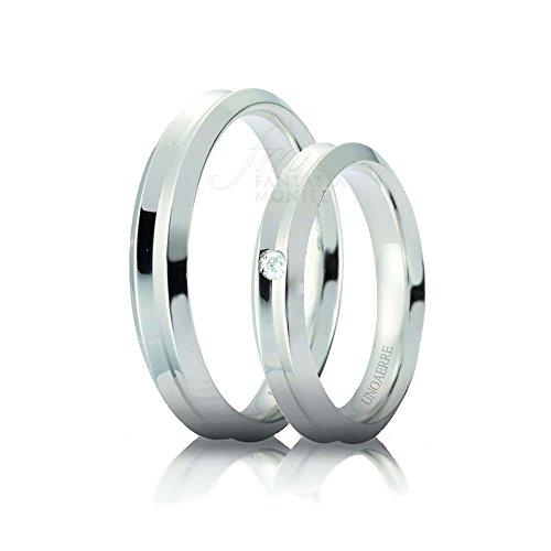 Kit coppia fedi nuziali unoaerre modello corona oro bianco 18kt diamante naturale nozze concessionario ufficiale 94tgifm