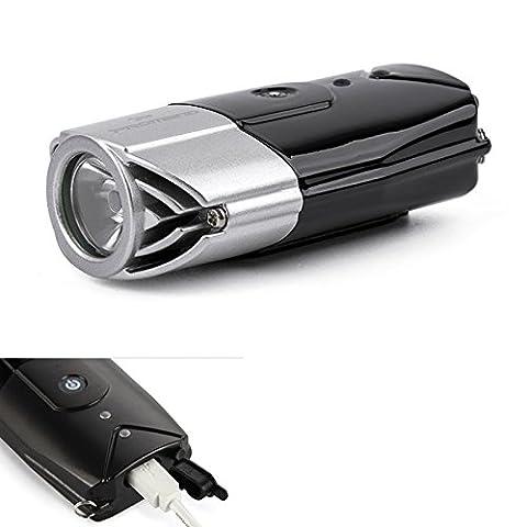 LanLan Headlight Integrated Touch Switch Portable Flashlight Silver Grey 2000mAh 3W USB Charging High Brightness LED Bicycle