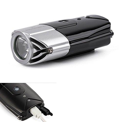 Lanlan integrierte Touch Schalter Portable Taschenlampe Silber Grau 2000mAh USB-Ladekabel 3W hohe Helligkeit LED Fahrrad Licht Scheinwerfer (Nissan Halo-scheinwerfer)