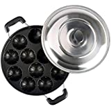 Kytaste Non-Stick 12 Cavity Appam Patra Side Handle With Lid, Color May Vary