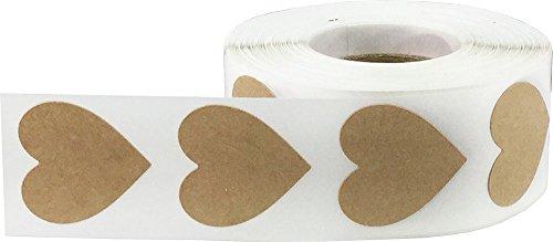 Marrón Kraft Corazón Pegatinas, 25 mm 1 Pulgada Ancho, 500 Etiquetas en un Rollo