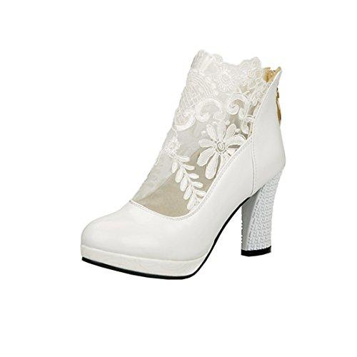 avec Bottes et Elegantes Chaussures Plateforme avec Blanc pour Haut Femmes Bloc à Dentelle lautomne Cheville Talons UH Lace q4CvAEx7w