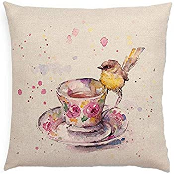Kanggest Pillow Case Vintage Tree Pattern Pillow Cover Soft Cotton Linen Fiber Throw Pillow Cushion Cover Fashion Printed Pillow Protector Decoration for Caf/é Home Bedroom Sofa Car 45*45cm