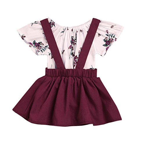 (Sommerkleider Kinderbekleidung Party Kleid Babykleidung Prinzessin Kleid Junge Mädchen Kleinkind Sommer Blumendruck Kleid Strampler Overall Kleid Tutu Kleider Outfits Set LMMVP (Wein, 110))