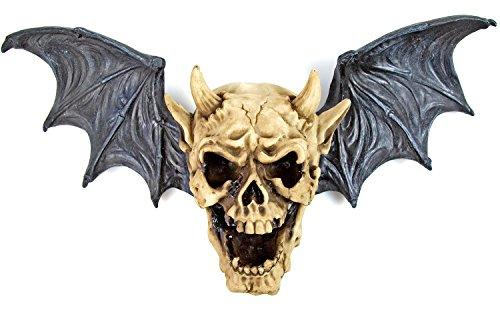Nick and Ben Geflügelter Toten-Kopf Fleder-Maus Dekoration Hörner Bat Dämon Skull Skulptur Horror Skelett 42x11x23cm Dead Heaven Hell Hölle Satan Teufel Gothic Engel Wings Halloween