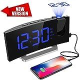 Mpow [Versione AGGIORNATA] Radiosveglia con Proiettore Dimmerabile, FM Orologio con Doppi Allarmi, USB Porta di Ricarica, Funzione di Snooze, Sleep Timer, 5'' Display LED con Dimmer, 12/24 Ora