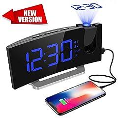 Idea Regalo - Mpow [Versione AGGIORNATA] Radiosveglia con Proiettore Dimmerabile, FM Orologio con Doppi Allarmi, USB Porta di Ricarica, Funzione di Snooze, Sleep Timer, 5'' Display LED con Dimmer, 12/24 Ora