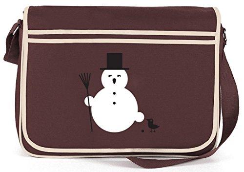 SNOWMAN, Winter Weihnachten Retro Messenger Bag Kuriertasche Umhängetasche Braun