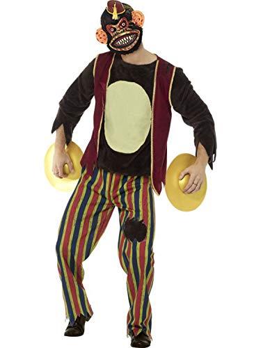 en Männer Kostüm Horror klatschender Spiekzeug AFFE, Zombie Clapping Monkey Toy, perfekt für Halloween Karneval und Fasching, L, Braun ()