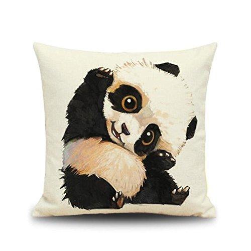 Nabati Cute Panda Animal Estampado lino cuadrado funda de almohada Funda de cojín decoración para el hogar–1, 45* 45* 0.3cm