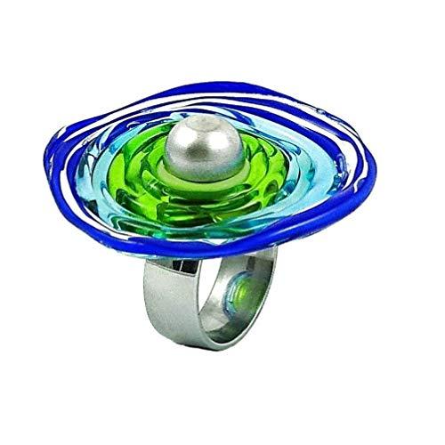 Edelstahl-Ring in Blau-Grün mit Scheibe aus Murano-Glas | passt immer | verstellbar (16-21) | Wechsel-Ring | Geschenk Jahrestag Hochzeit Geburtstag Mama | Personalisiertes Geschenk zu Weihnachten
