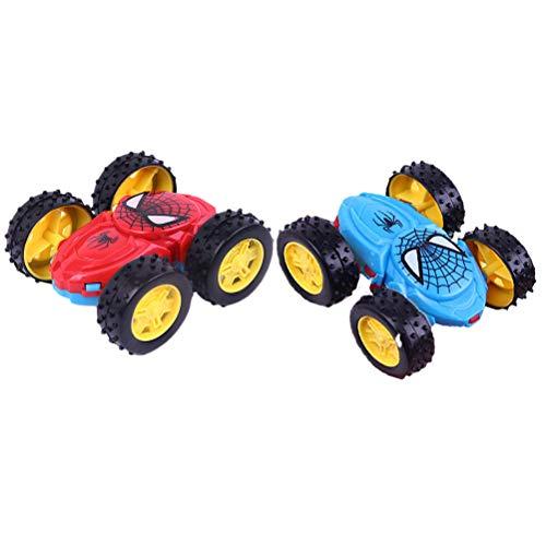 Schimer Spiderman Kids Inertia Doppelseitige Kipper Modell Schlagfeste Spielzeug LKW Auto Neuheit Spielzeug Dumper Modellautos , Spielzeugauto Set für Kinder